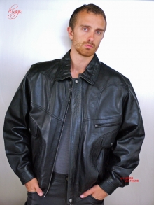 Higgs Leathers LAST FEW!  Jerry (blouson style men's black leather jacket)
